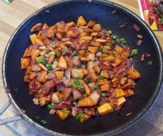 Patate douce, pomme et pancetta