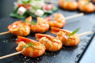 Brochettes de crevettes sur le BBQ
