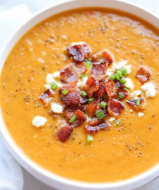 Soupe de courge butternut rôti et bacon