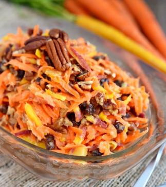 Salade de carottes arc-en-ciel aux pacanes