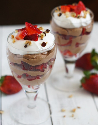 Parfait au cheesecake, fraises et Nutella