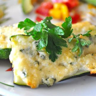 Zucchinis gratinées au parmesan (sur le BBQ)