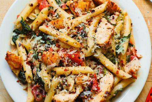 recette de p 226 tes au poulet et bacon avec une sauce cr 233 meuse 224 l ail