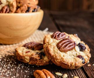 Biscuits à l'avoine, canneberges et pacanes