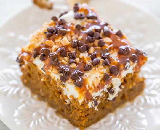 Recette facile de gâteau à la citrouille, chocolat et caramel