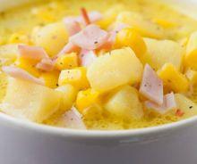 Soupe-repas aux patates et jambon