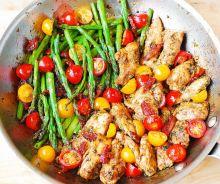 Casserole de poulet, légumes et pesto