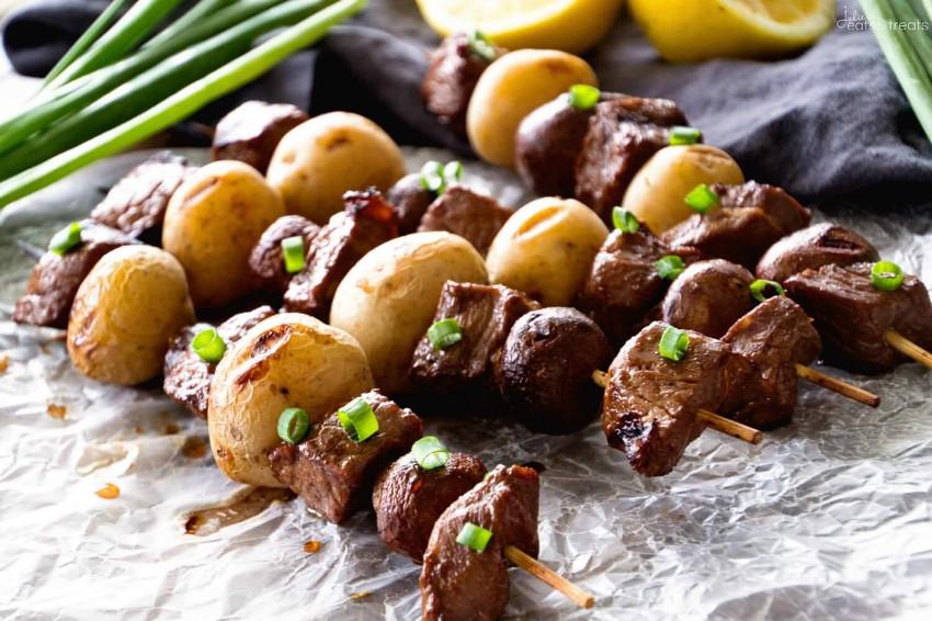 Recette facile de brochettes de boeuf et de patates!