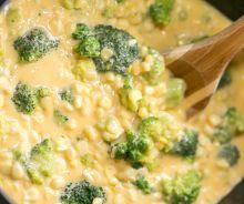 Soupe crémeuse au maïs et brocoli à la mijoteuse