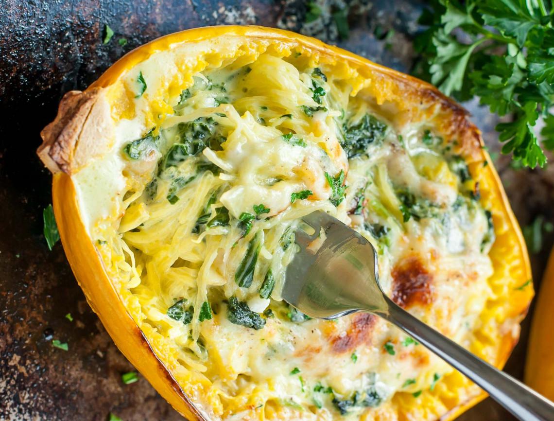 La recette facile de courge spaguetti au parmesan et épinards!