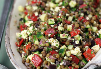 Salade grecque de lentilles