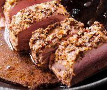 Filet de porc avec un croûte moutarde et ail